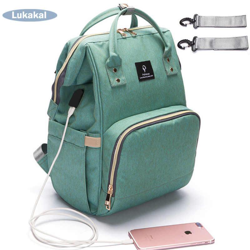051b444bdd56 2019 USB интерфейс Мумия сумка рюкзак большой емкости непромокаемая детская  пеленка Сумка для беременных сумка для