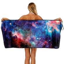 Dazzling Starry Sky Printing Bath Towel Bathroom Super Absorbent Quick-drying Wearable Beach Outdoor Women Home