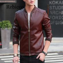Rebicoo 2019 Autumn Winter Mens Leather Coat Korean Slim Fit Jackets Fashion Casual Outwear for Man Jacket