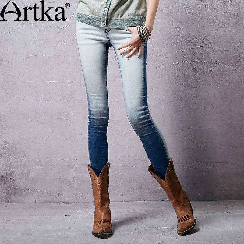 ФОТО Artka Women's Spring New Gradient Color Low Waist Straight Whitewashed Soft Skin-Friendly Skinny Jeans KN14058C