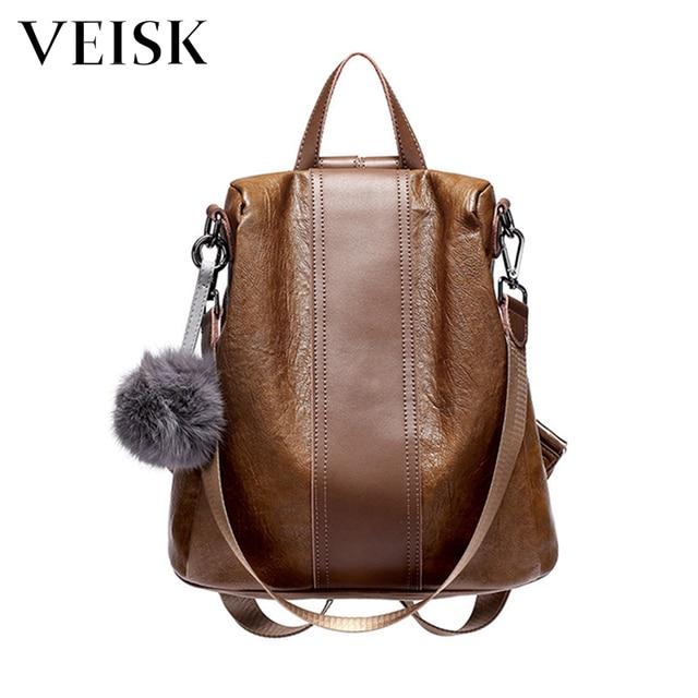Veisk Female Backpack Natural Soft Leather Backpacks Genuine Luxury Brown Ball Sac A Dos Femme