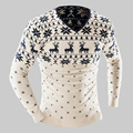 2017 Spring Autumn Men Pullover Christmas Sweaters Deer Pattern Male Slim Fit Knitted Men's Winter Knitwear Kerst Pull Homme