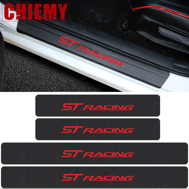 Car Carbon Fibre Door Sill Protector Stickers 4pcs ST RACING Car Sticker For FORD FOCUS 3 Mondeo Fiesta Kuga MK2 MK3