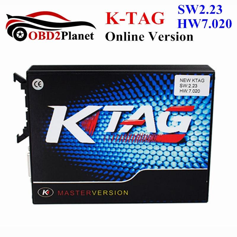 KTAG V2.23 pas de jetons limite KTAG FW 7.020 Version principale OBD2 ECU puce Tuning outil K-TAG pour voitures camions utiliser en ligne K TAG V7.020
