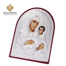 3 шт./компл. разного размера православная значки искусства virgin(не подвергавшиеся химическому воздействию) Мэри Иерусалима и Иисус религиозные серебряные значок подвеска подарки