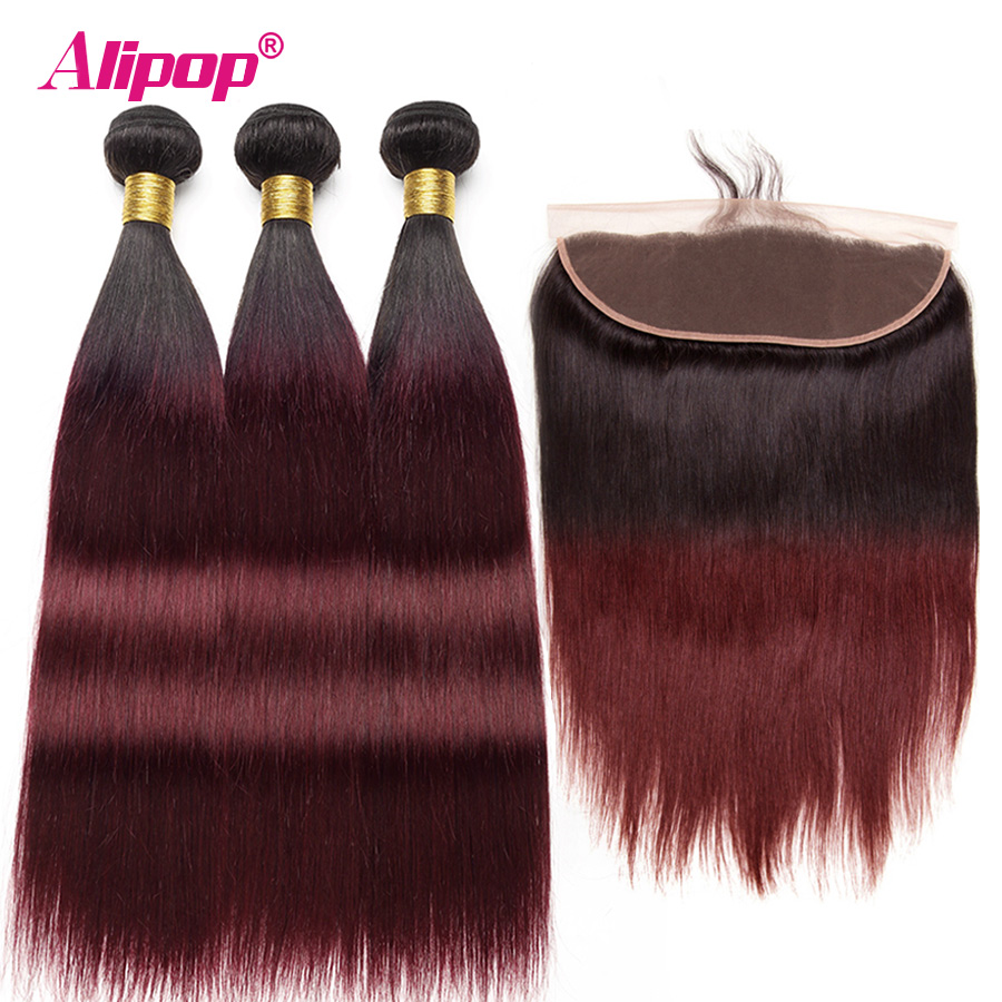 Ombre 99j Burgundy Bundles With Closure Frontal Brazilian Hair Human Hair Weave 3 Bundles With Frontal