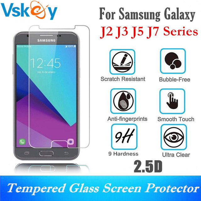 Us 8 8 Vskey 10pcs 2 5d Tempered Glass For Samsung Galaxy J2 Pro J3 J5 J7 2018 2017 Version Screen Protector Protective Film In Phone Screen
