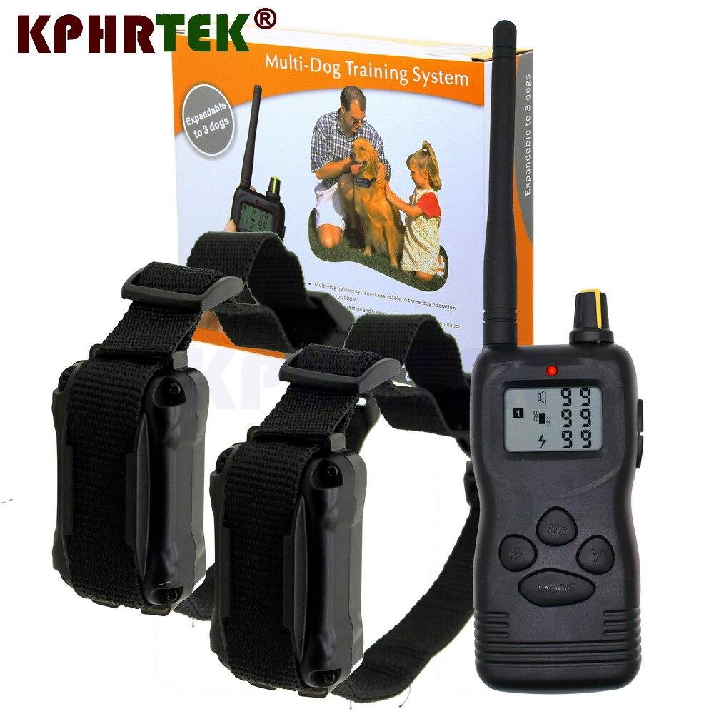 ЖК-дисплей дистанционного 100 уровней кинологический Ошейник 1000 м Пульт дистанционного управления с 3 ошейника с приёмниками для 1 собаки