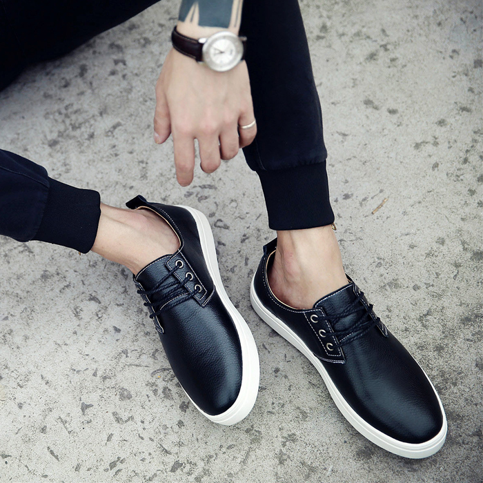 New Plus Size Men Man Shoes Pu Leather Casual Shoes Men Fashion British Low Lace Up Men's Flat Shoes Black White Size45,46,47,48 2016 new summer british style men s driving shoes fashion casual shoes flat with low top 39 44 size