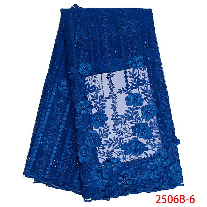 2019 3D Lace Fabric High Quality African French Laces Fabrics Embroidery Tulle Mesh Laces With Beads For Wedding KS2506B-6