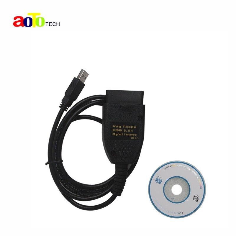 Nuovo USB VAG di TACHI 3.01 + Opel Immo Reader Interfaccia OBD2 Strumento diagnostico EEPROM IMMO PIN Chilometraggio Correzione Dell'odometro Per Audi Vw