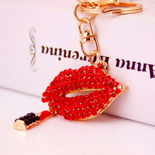 Sexy Lipstick Crystal Keychain Trinket Rhinestone Car Key chain Bag Charm rings New Chain CloverFemale Creative Rings Accessories