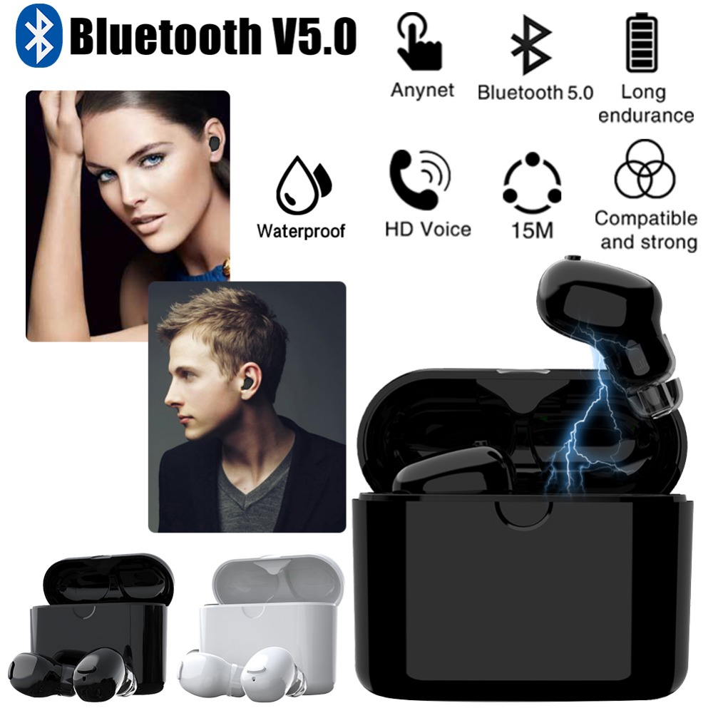 TWS HD Microphone Bluetooth Earphone 5.0 Handsfree Wireless Earphone Bluetooth Sports Waterproof Headset With Charging Box uslion wireless bluetooth headset earphone v4 2 bluetooth headphone with microphone earphone handsfree for iphone for samsung