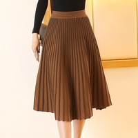 New Women's Midi Pleated Skirt High Waist Euro American Fashionable Elegant Autumn Winter Knitted Skirt High Quality
