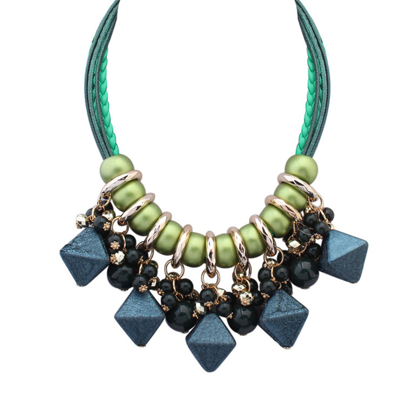 Cubic Pendant Fashion Necklace Exotic Ethnic Jewelry Accessories For Handmade Jewelry Rope Chain Women Tassel Necklaces 4 Colors