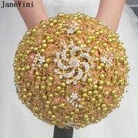 JaneVini Fake Bouquet for Wedding Flower Bridal Bouquets Gold Satin Black Ribbon Crystal Bride Bridesmaid Bouquet de Mariage