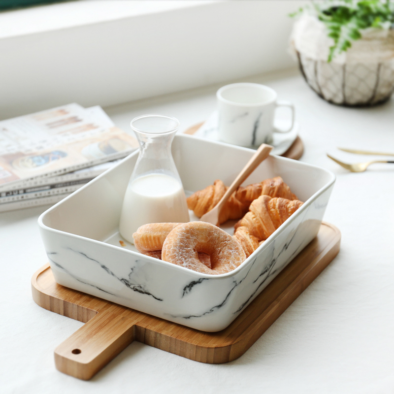 Nordic Style Ceramic Marble Texture Deep Plate with Wooden Chopping Board Kit Home Tableware Fruit Salad Bread Dishes Big Bowl