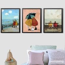 Gohipang, familia feliz, amor abstracto, pintura en lienzo, pósteres Vintage, impresiones, arte nórdico escandinavo para pared, cuadro para dormitorio, hogar