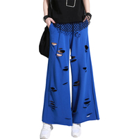 Hot Sell 2017 New Women Summer Casual Pants Female Hollow Out Pants Thin Loose Pants High Waist Wide Leg Pants YP0250