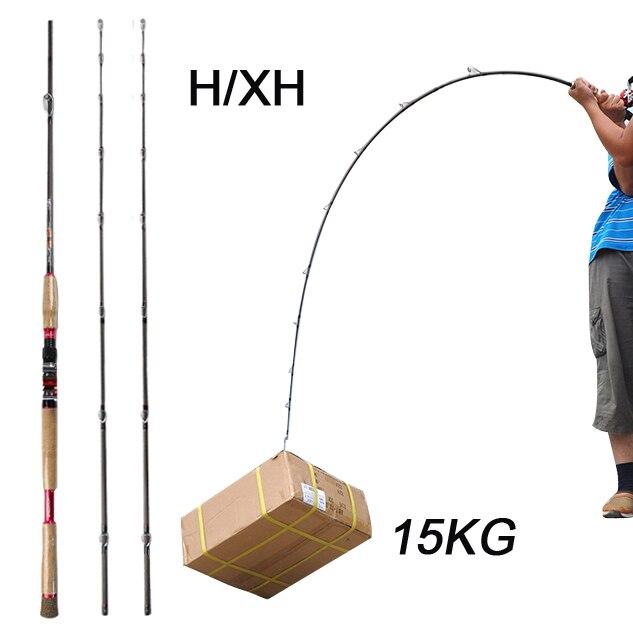 Superhard Fishing Rod Casting 2 4m H XH Carbon Fiber Baitcasting Rod Canne A Peche Surf