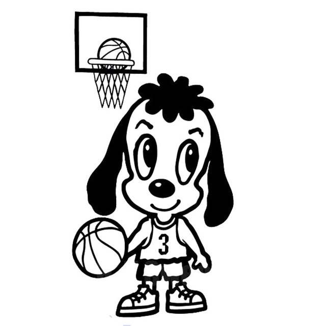 8cm15cm car styling cartoon dog playing basketball funny car stickers can be pasted to