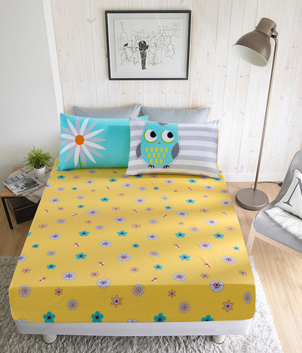 Cotton Yellow Flowers 1pcs Fitted Sheet Bedding Mattress