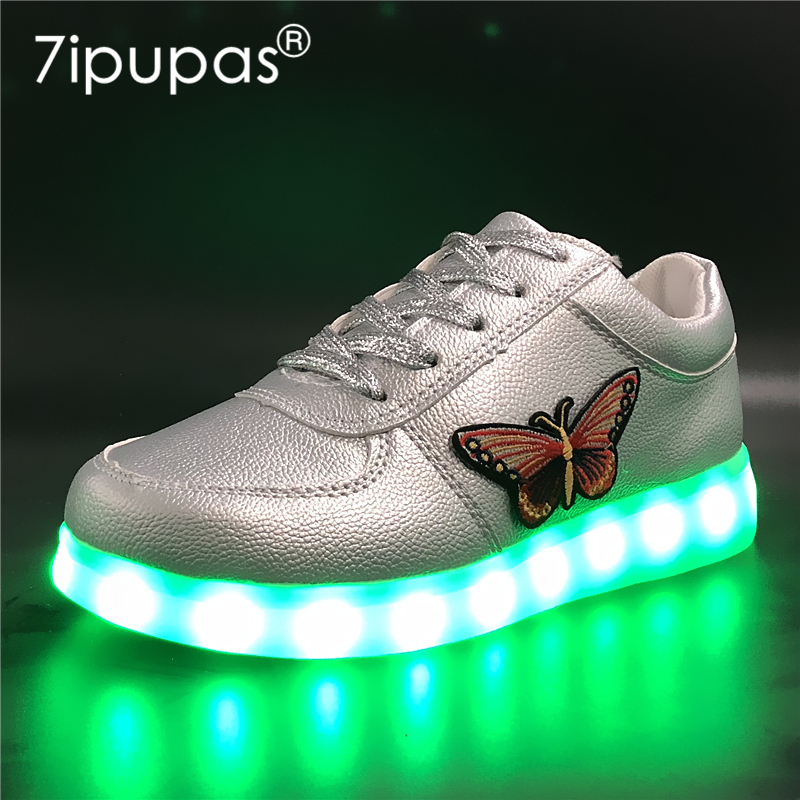 7ipupas 2018 children Silver luminous sneaker Butterfly Embroidery glowing sneakers kids 30-44 simulation led shoes for boy gilr