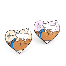 Cartoon Cute Cat Interesting  Brooches For Women 2 Color touches ass Enamel Pins Coat Cap Backpack And Kids Badge Gifts