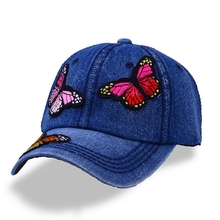2019 hot salesFashion spring and summer butterfly embroidery Colorful flower womens sun-shading Baseball Cap Women Hip Hop Hat