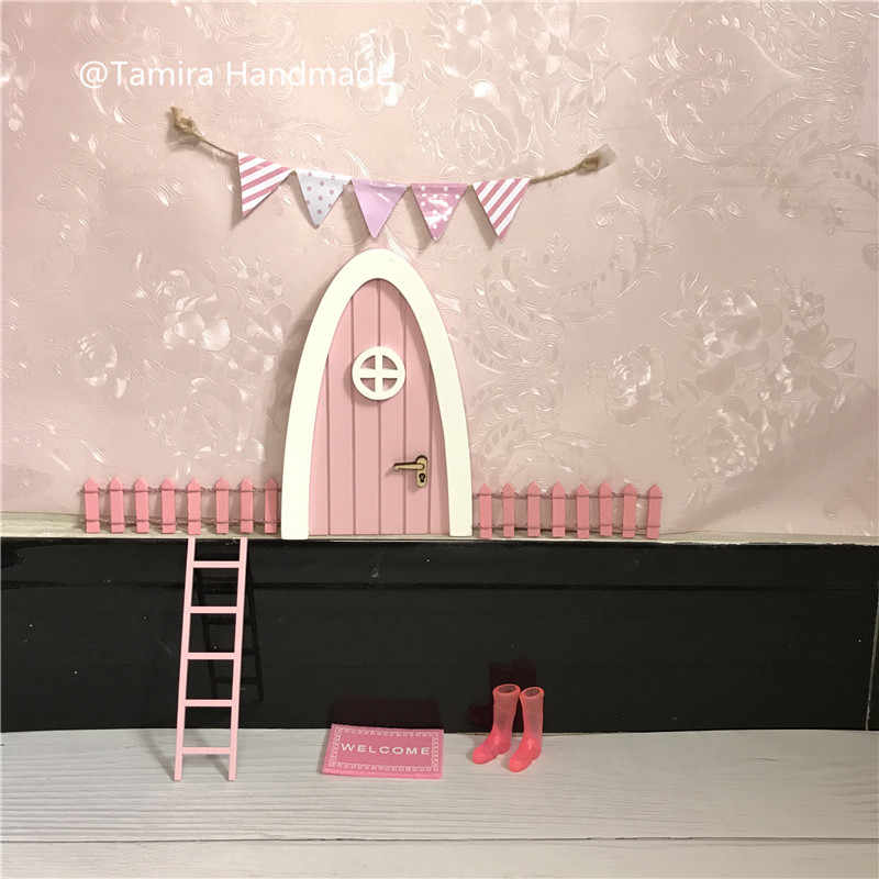 Hand Made pink Fairy door great gift for girls room miniature pretend play magic fairies tooth fairy door XMas Gift for girls