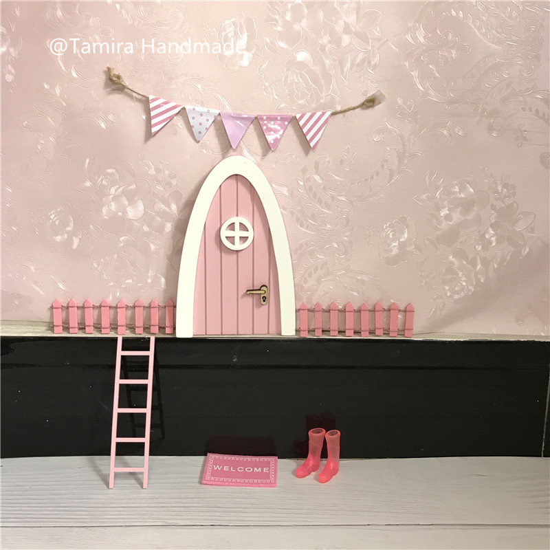 Hand Made pink Fairy door great gift for girls room miniature pretend play magic fairies tooth fairy door XMas Gift for girls jetem fairy pink