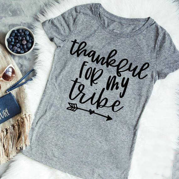 694e4f2e Thankful For My Tribe t-shirt women fashion holiday gift funny slogan tops  grung tumblr