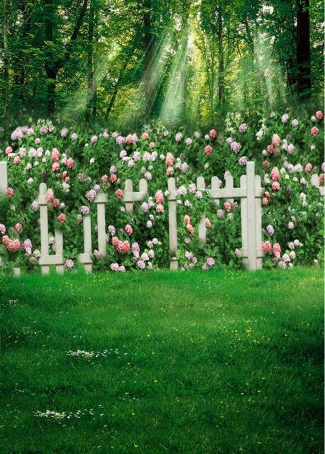 Трава забор фотографии фонов винил stor фотография фотография реквизит 5x7ft или 3x5ft Студия свадьбы фон саншайн цветок