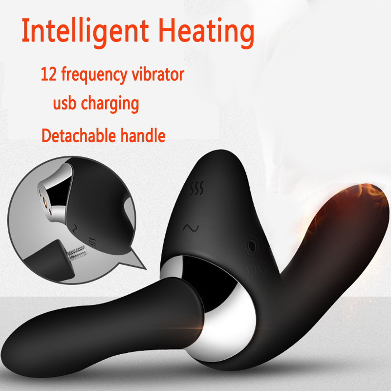 Removable handle heating vibrating butt plug male prostata massage sex toys for men gay g spot anal plug usb prostate massager levett maud prostate vibrating massager g spot anal prostata massager dual vibration remote control sex toys for man
