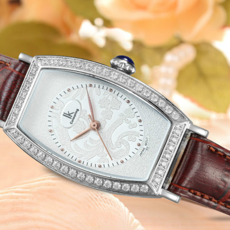 Women s Tonneau Crystal Quartz Sapphire font b Watches b font Genuine Leather Waterproof Wristwatch Gift