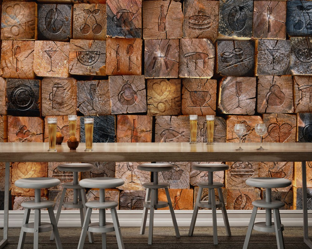 Free shipping Custom 3d Wall Mural Retro Vintage 3D Wood Block Wood Wallpaper Background Wallpaper for Restaurant Coffee Shop custom 3d chalk large mural 3d wallpaper fruit gourmet pizza restaurant dessert tea coffee shop 3d wallpaper