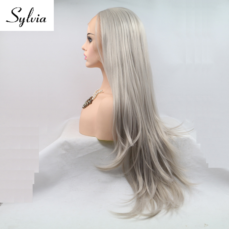 Sylvia grey natural wave synthetic lace front wigs with middle parting silver grey glueless heat resistant fiber hair for woman