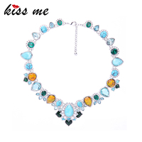 KISS ME Multi Synthetic Stone Crystal Water Drop Choker Necklace Luxury Women Party Jewelry Accessories