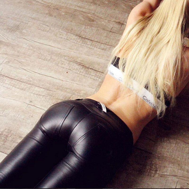 Low Waist Plus size PU Elastic Leggings Women girls Sexy Hip Push Up Pants Legging For Fitness Jegging Gothic Leggins Autumn winter-19