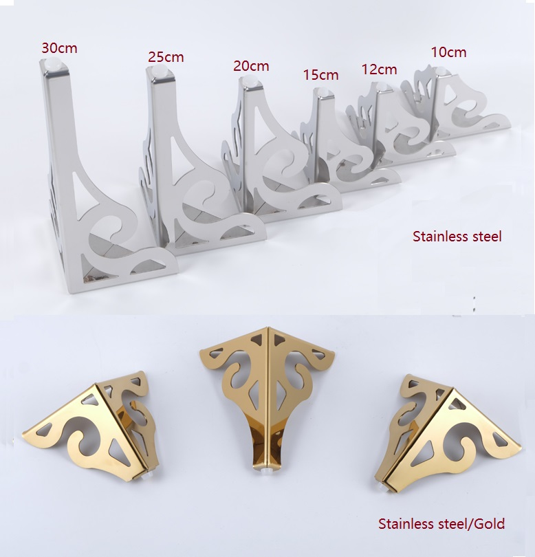 2Pcs/Lot Premintehdw Stainless Steel Furniture Sofa Legs European Flower Pattern Cabinet Feet Hardware Accessories Gold