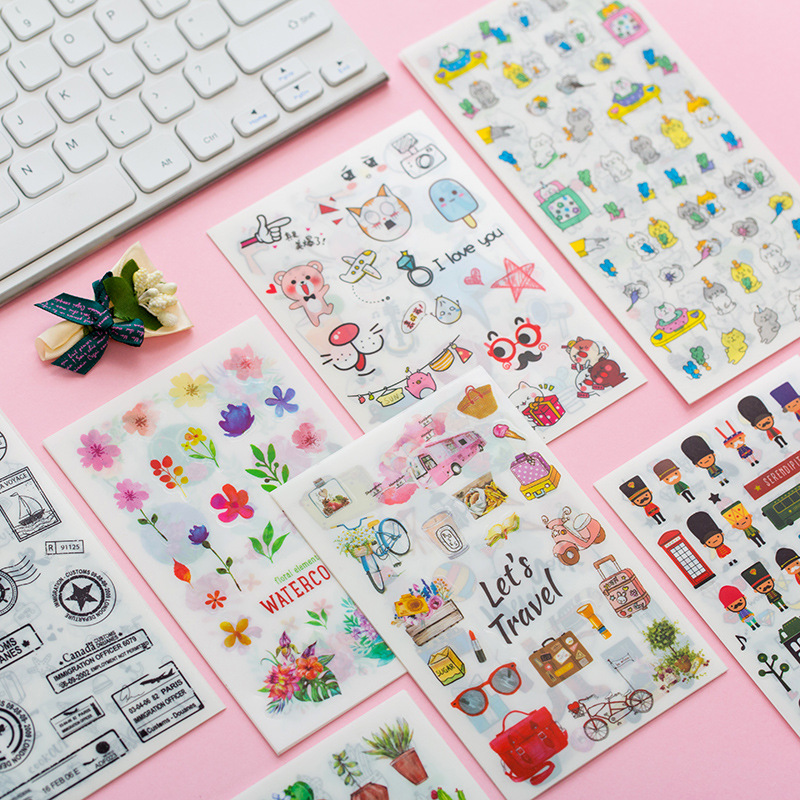 6 sheets/1pack Kawaii Stickers Cute Succulent Diary Planner Decorative Mobile Stickers Stationery Scrapbooking DIY Craft Sticker