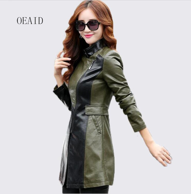 beb41d36db744 Fashion Plus Size 3XL 4XL Long Leather Jacket Women Leather Coat Outerwear  New 2018 Spring Slim Ladies Jackets And Coats Black