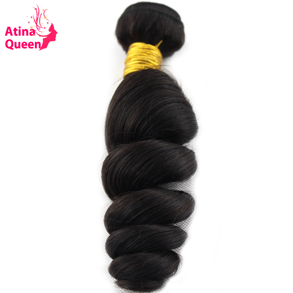 Atina Queen Loose Wave Brazilian Hair Weave Bundles Natural Color 10-28inch 100% Human Hair Weaving Curly Remy Hair Weft