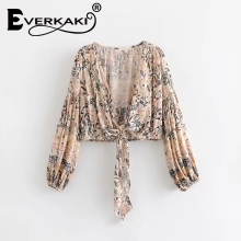 Everkaki Boho Chic Summer Crop Tops Vintage Floral Print Kimono Women 2019 Fashion V Neck Bow Tie Beach Blouses Shirts