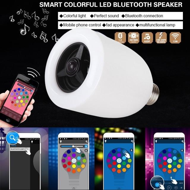 Novidade APP Bluetooth Speaker Luzes LED RGB Ajustável E27 Lâmpada Com Speaker Sem Fio Bluetooth Inteligente Bluetooth Três Cores