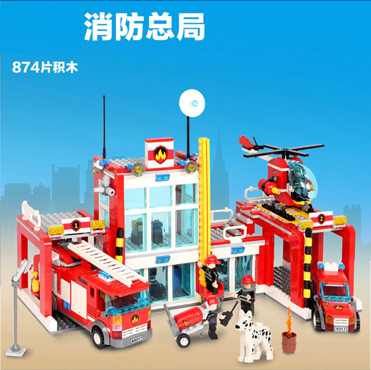 Models building toy 9217 City Fire Station 874pcs Helicopter Fire Truck Building Blocks compatible with lego toys & hobbies