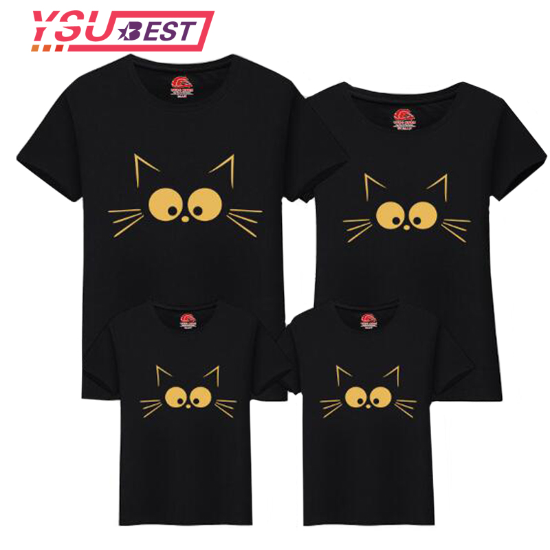 Summer Matching Mother Daughter Clothes Matching Cute Cat Print Family Look Family Matching Parent-child Outfit Mommy T-shirts ad cotton cute cartoon pattern family matching clothing summer t shirts couple clothes