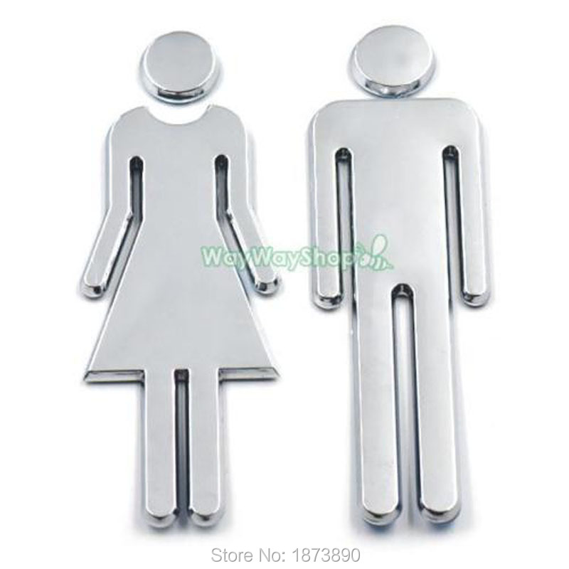 Popular restrooms signs buy cheap restrooms signs lots for Plaque decorative adhesive alu inox metal