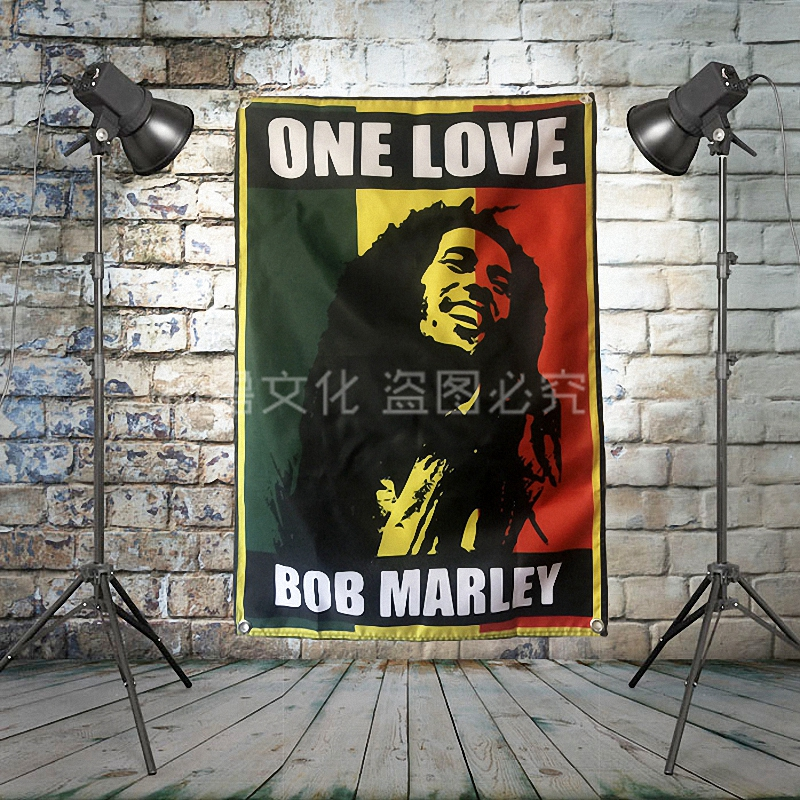 BOB MARLEY Large Reggae Rock Flag Banners Four-Hole Wall Hanging Painting Bedroom Studio Party Music Festival Background Decor image