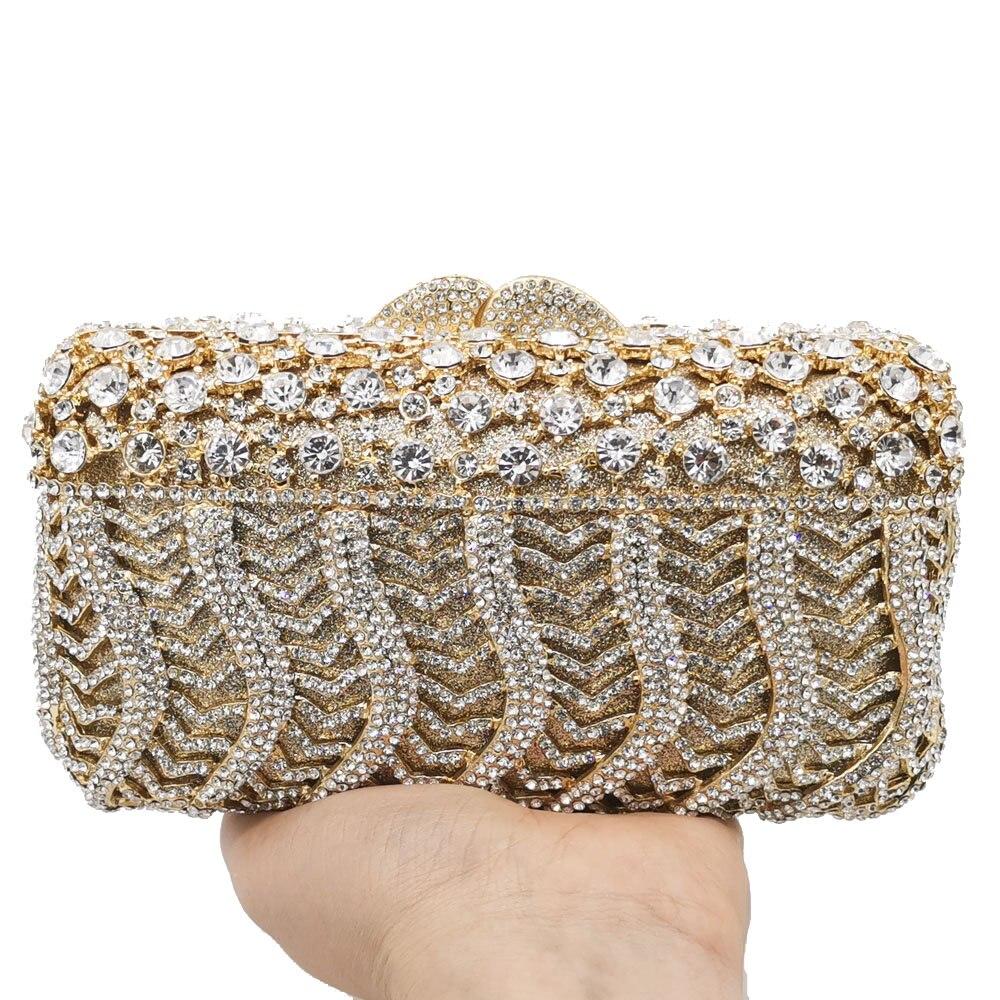 Boutique De FGG deslumbrante mujer cristal noche Minaudiere bolsas diamante boda monederos caja nupcial bolso De embrague Gala cena bolso-in Bolso de noche from Maletas y bolsas    3